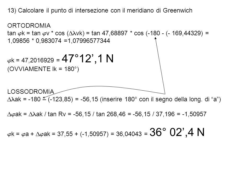13) Calcolare il punto di intersezione con il meridiano di Greenwich