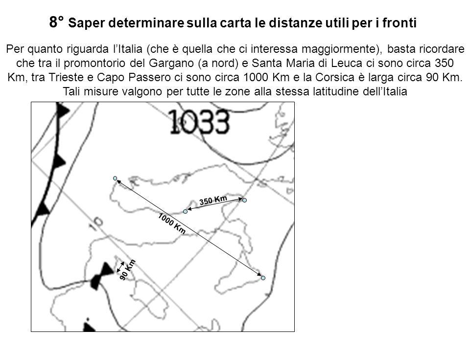 8° Saper determinare sulla carta le distanze utili per i fronti