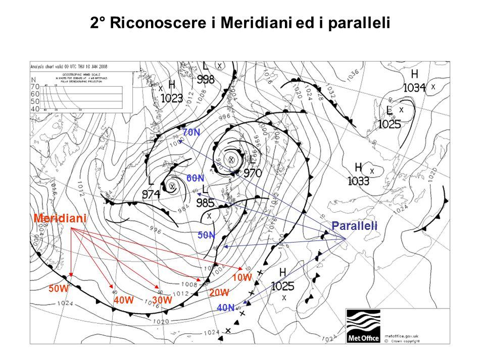 2° Riconoscere i Meridiani ed i paralleli