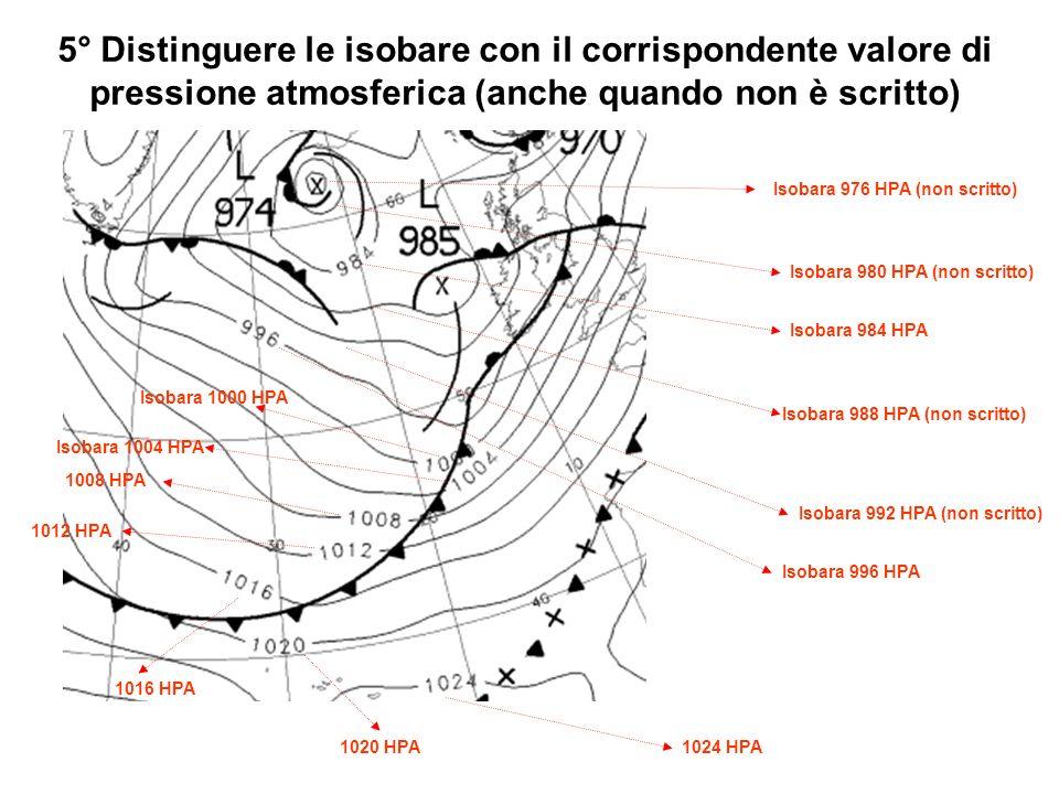 5° Distinguere le isobare con il corrispondente valore di pressione atmosferica (anche quando non è scritto)