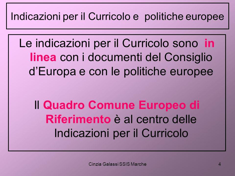 Indicazioni per il Curricolo e politiche europee