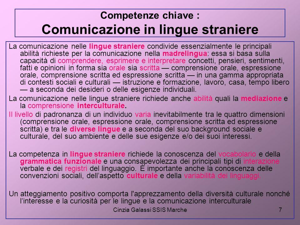 Competenze chiave : Comunicazione in lingue straniere