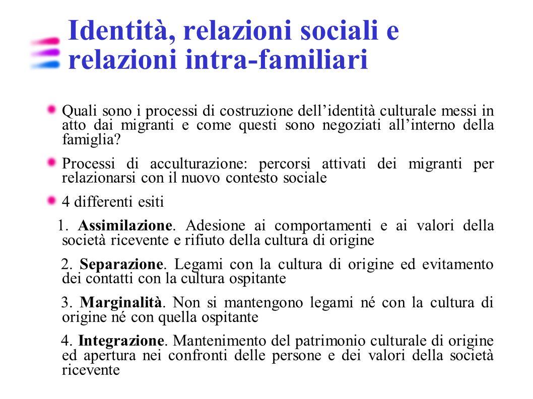 Identità, relazioni sociali e relazioni intra-familiari
