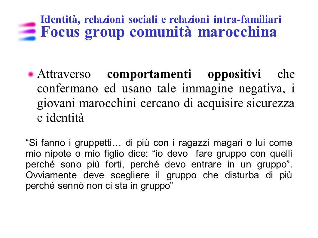 Identità, relazioni sociali e relazioni intra-familiari Focus group comunità marocchina