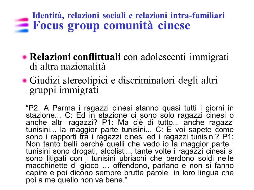Relazioni conflittuali con adolescenti immigrati di altra nazionalità