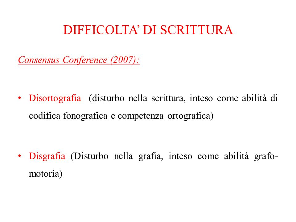 DIFFICOLTA' DI SCRITTURA