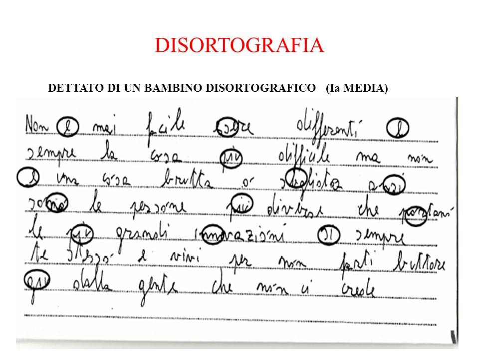 DISORTOGRAFIA DETTATO DI UN BAMBINO DISORTOGRAFICO (Ia MEDIA)