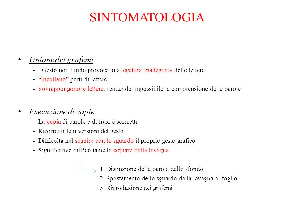 SINTOMATOLOGIA Unione dei grafemi Esecuzione di copie