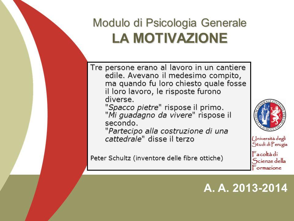 Modulo di Psicologia Generale LA MOTIVAZIONE