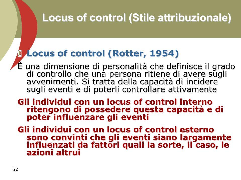 Locus of control (Stile attribuzionale)