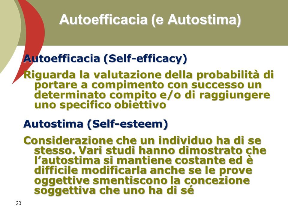 Autoefficacia (e Autostima)