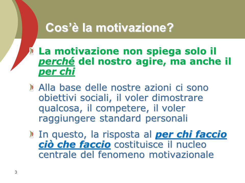 Cos'è la motivazione La motivazione non spiega solo il perché del nostro agire, ma anche il per chi.