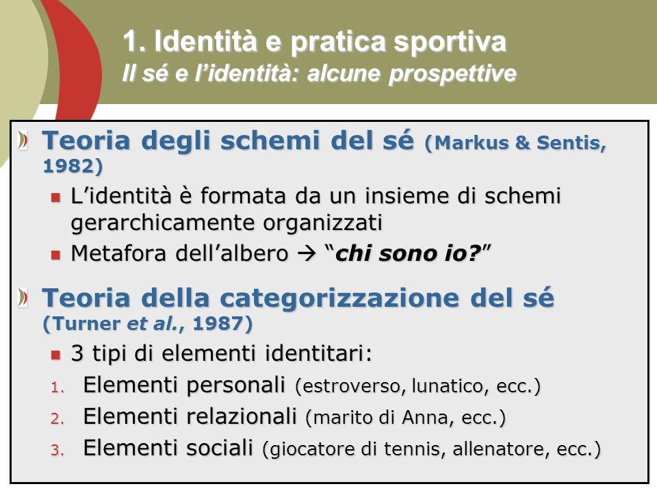1. Identità e pratica sportiva Il sé e l'identità: alcune prospettive