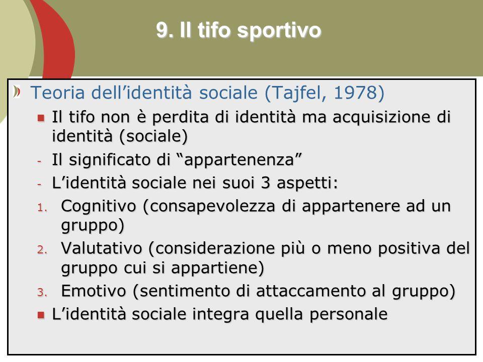9. Il tifo sportivo Teoria dell'identità sociale (Tajfel, 1978)