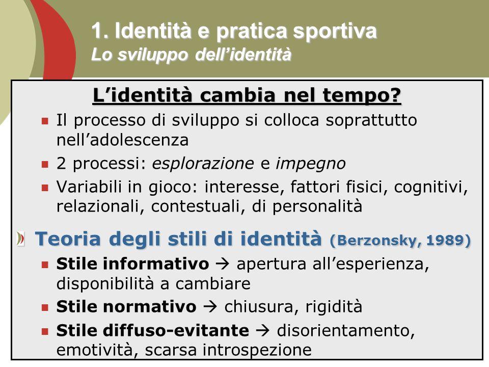 1. Identità e pratica sportiva Lo sviluppo dell'identità