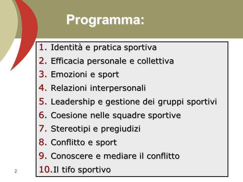 Programma: Identità e pratica sportiva