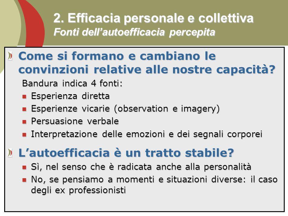 2. Efficacia personale e collettiva Fonti dell'autoefficacia percepita