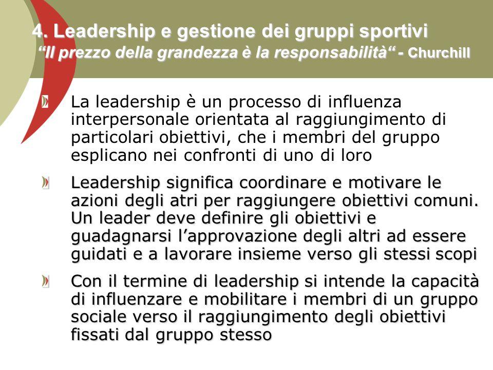 4. Leadership e gestione dei gruppi sportivi Il prezzo della grandezza è la responsabilità - Churchill