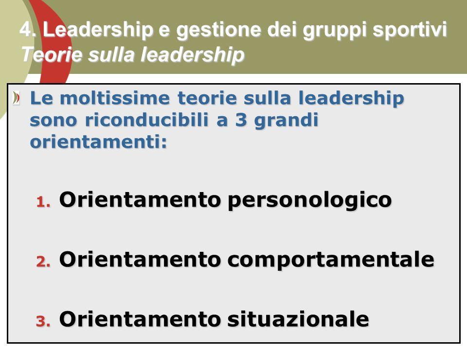 4. Leadership e gestione dei gruppi sportivi Teorie sulla leadership
