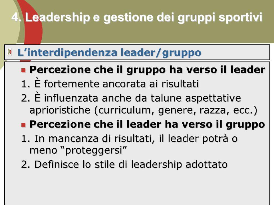 4. Leadership e gestione dei gruppi sportivi