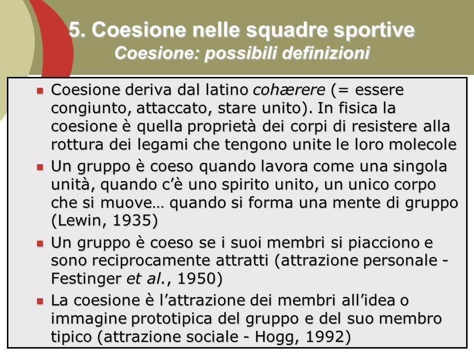5. Coesione nelle squadre sportive Coesione: possibili definizioni