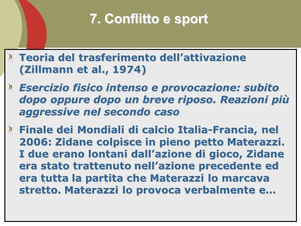7. Conflitto e sport Teoria del trasferimento dell'attivazione (Zillmann et al., 1974)