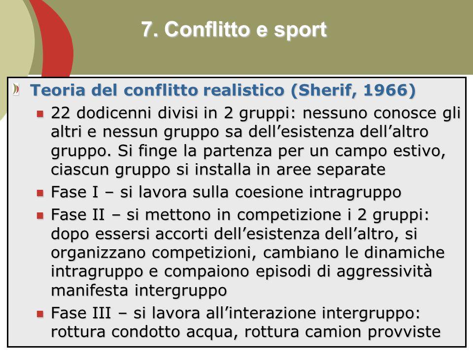 7. Conflitto e sport Teoria del conflitto realistico (Sherif, 1966)
