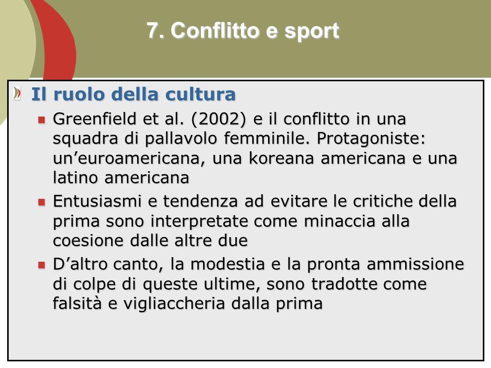 7. Conflitto e sport Il ruolo della cultura