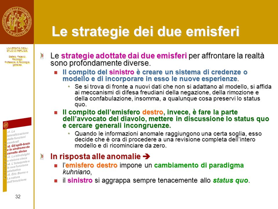Le strategie dei due emisferi