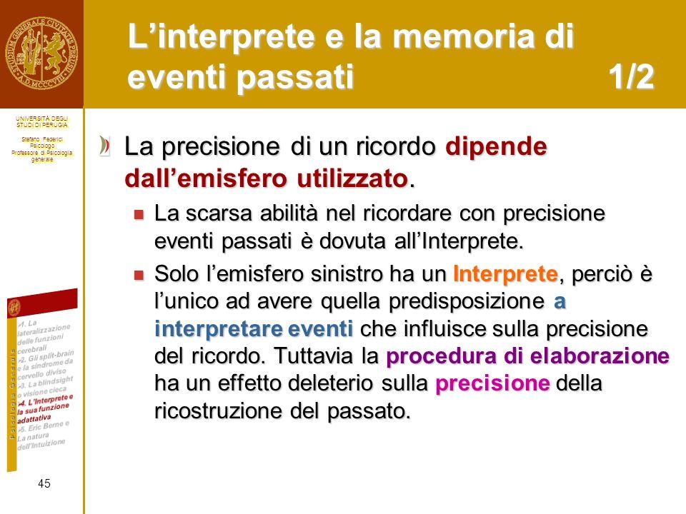 L'interprete e la memoria di eventi passati 1/2