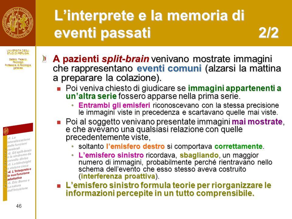 L'interprete e la memoria di eventi passati 2/2