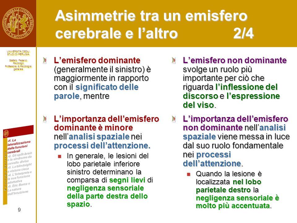 Asimmetrie tra un emisfero cerebrale e l'altro 2/4