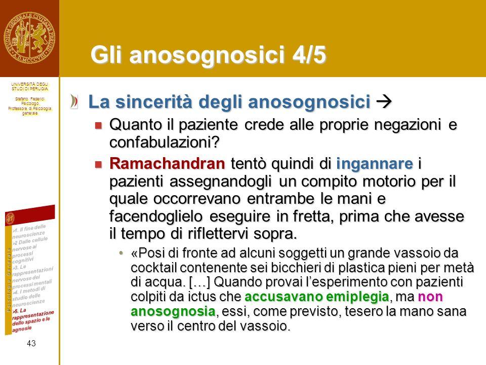 Gli anosognosici 4/5 La sincerità degli anosognosici 