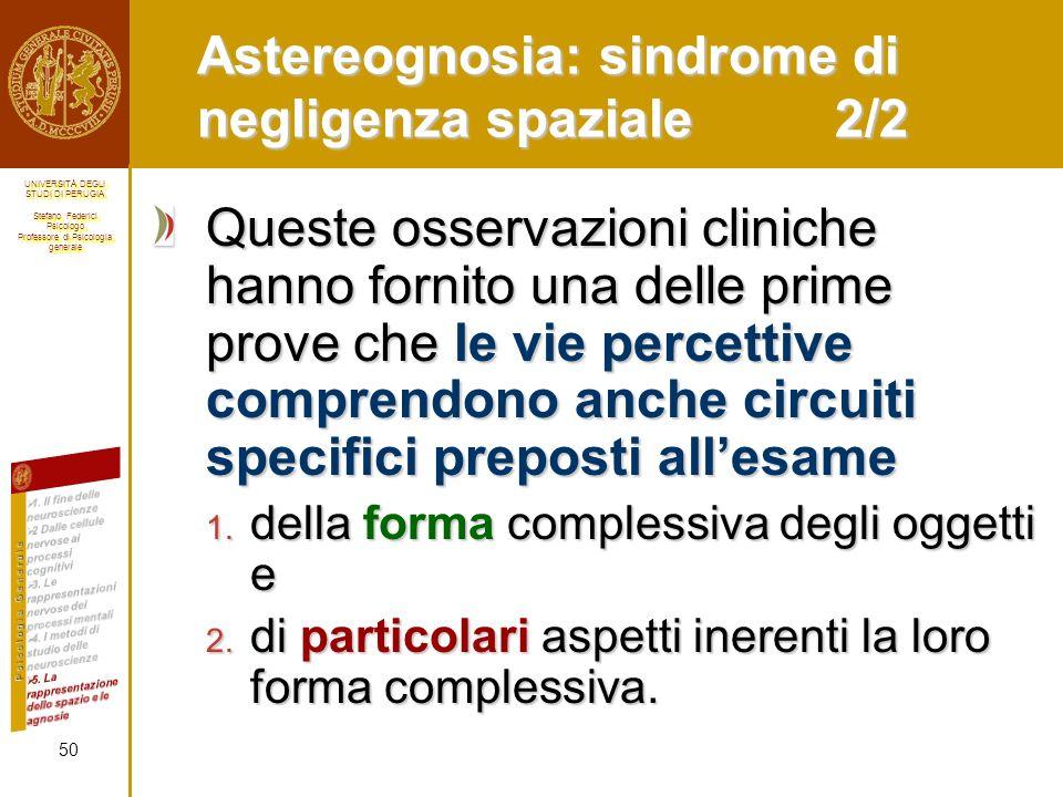 Astereognosia: sindrome di negligenza spaziale 2/2