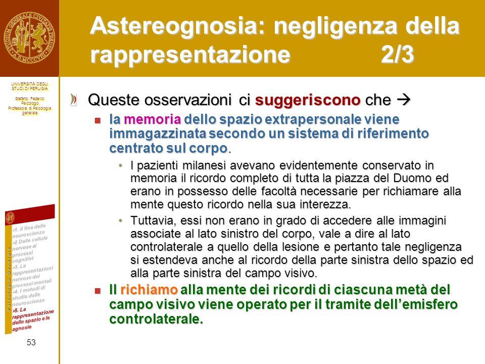 Astereognosia: negligenza della rappresentazione 2/3