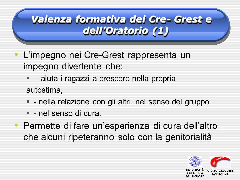 Valenza formativa dei Cre- Grest e dell'Oratorio (1)