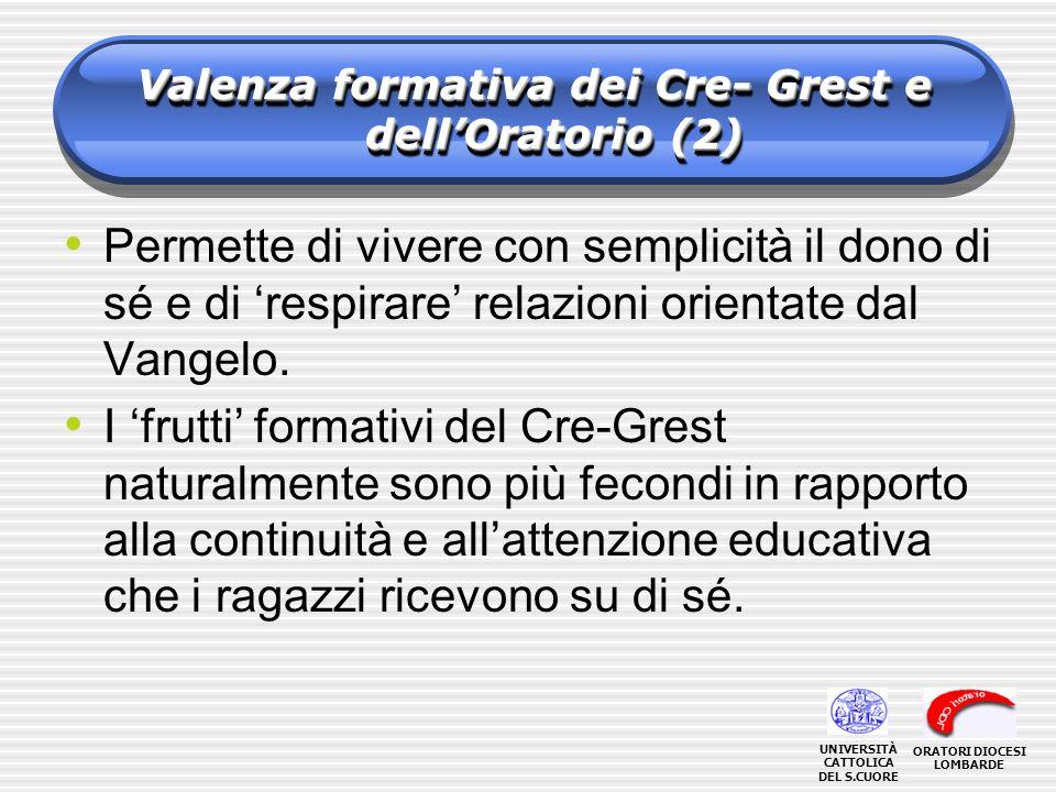 Valenza formativa dei Cre- Grest e dell'Oratorio (2)