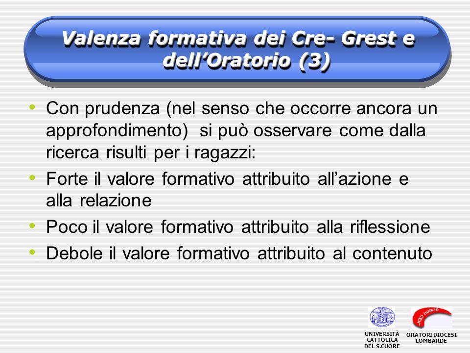 Valenza formativa dei Cre- Grest e dell'Oratorio (3)