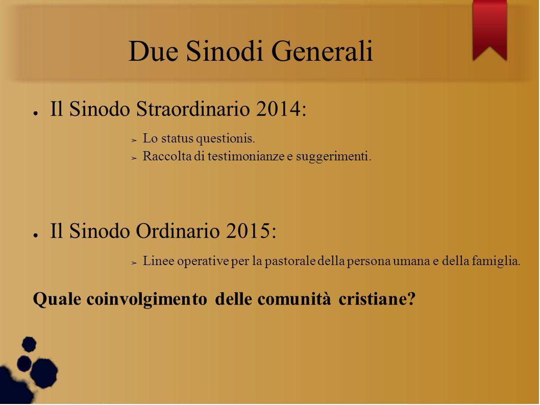 Due Sinodi Generali Il Sinodo Straordinario 2014: