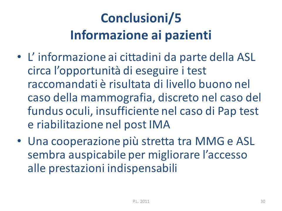 Conclusioni/5 Informazione ai pazienti