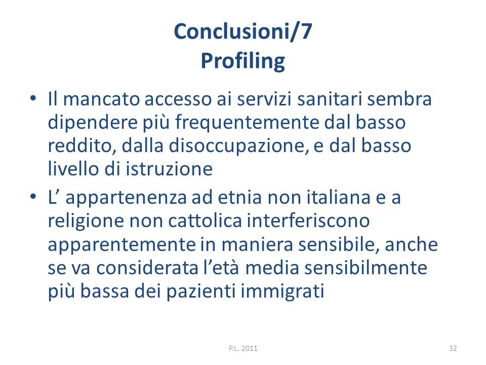 Conclusioni/7 Profiling