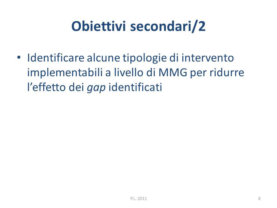 Obiettivi secondari/2 Identificare alcune tipologie di intervento implementabili a livello di MMG per ridurre l'effetto dei gap identificati.