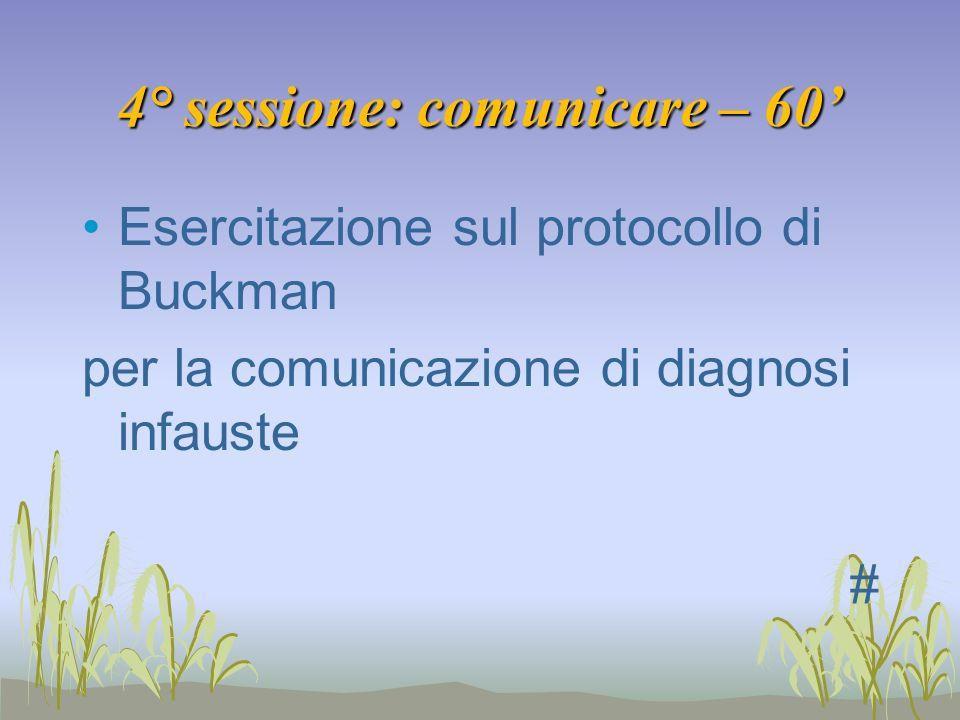 4° sessione: comunicare – 60'
