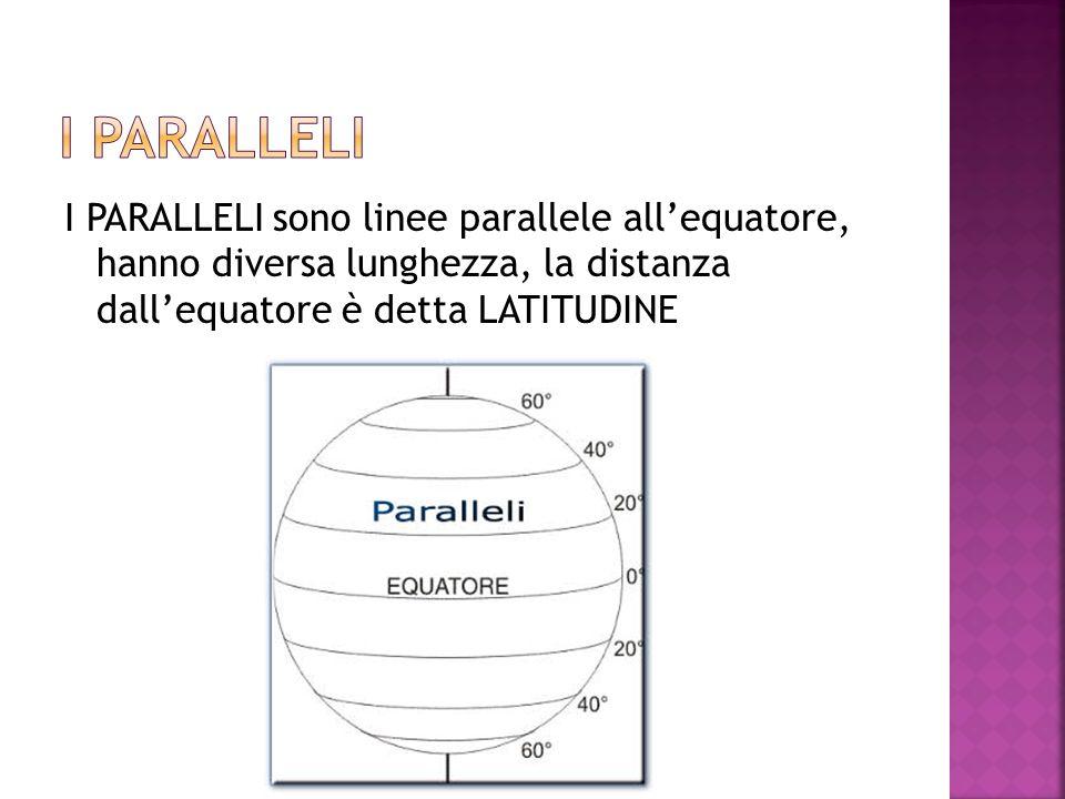 I PARALLELI I PARALLELI sono linee parallele all'equatore, hanno diversa lunghezza, la distanza dall'equatore è detta LATITUDINE.