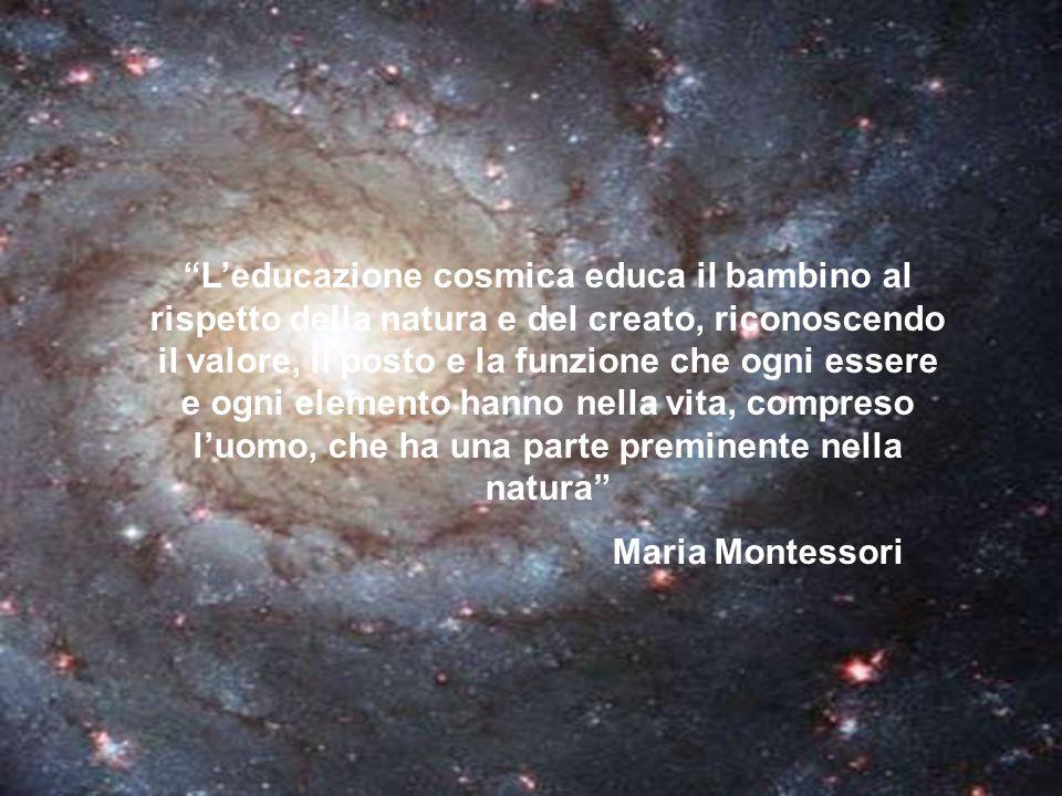 L'educazione cosmica educa il bambino al rispetto della natura e del creato, riconoscendo il valore, il posto e la funzione che ogni essere e ogni elemento hanno nella vita, compreso l'uomo, che ha una parte preminente nella natura