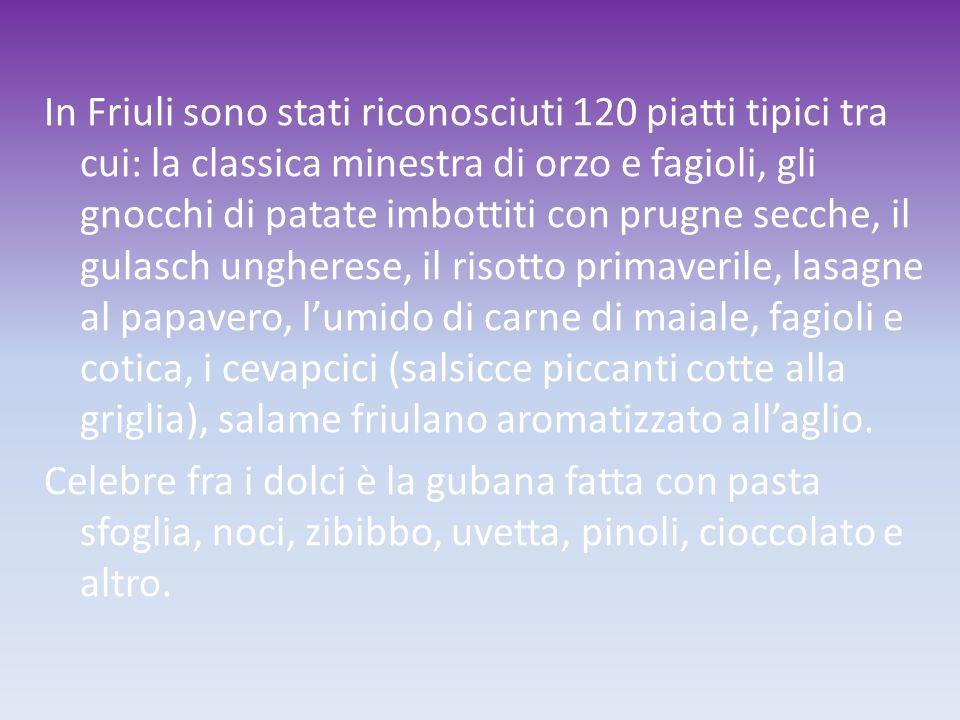 In Friuli sono stati riconosciuti 120 piatti tipici tra cui: la classica minestra di orzo e fagioli, gli gnocchi di patate imbottiti con prugne secche, il gulasch ungherese, il risotto primaverile, lasagne al papavero, l'umido di carne di maiale, fagioli e cotica, i cevapcici (salsicce piccanti cotte alla griglia), salame friulano aromatizzato all'aglio.