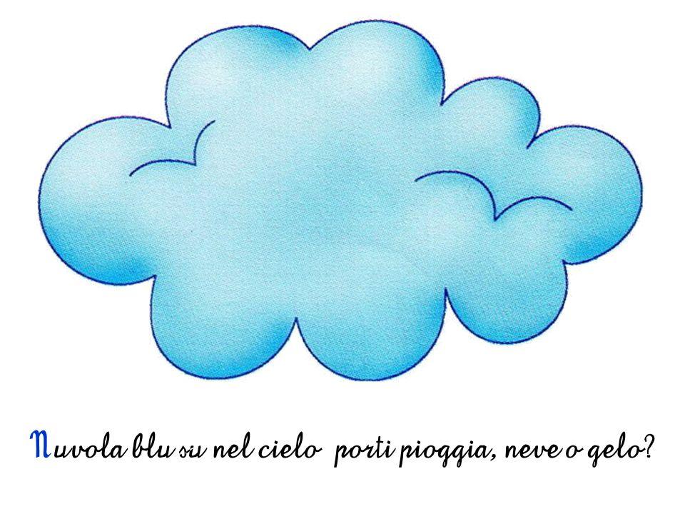 Nuvola blu su nel cielo porti pioggia, neve o gelo