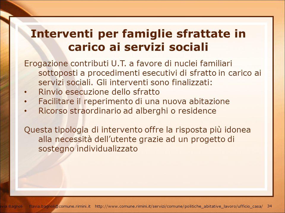 Interventi per famiglie sfrattate in carico ai servizi sociali
