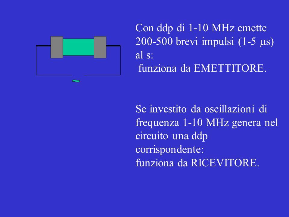 Con ddp di 1-10 MHz emette 200-500 brevi impulsi (1-5 ms) al s: funziona da EMETTITORE. Se investito da oscillazioni di.