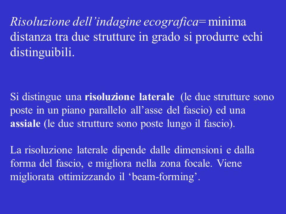 Risoluzione dell'indagine ecografica= minima distanza tra due strutture in grado si produrre echi distinguibili.